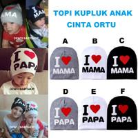 Topi Kupluk Anak Cinta Ortu Bayi Baby Balita Keren Unik Murah Kado - Grey Mama