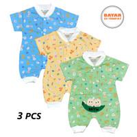 3 PCS Baju Hansop/Romper/Jumper PENDEK WARNA Bayi/Anak TOKARI 0-6 bln