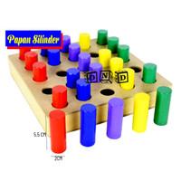 Mainan Edukatif / Edukasi Anak - Balok Kayu - Papan Silinder Warna