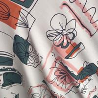 kain bahan baju meteran katun rayon motif daun y3558