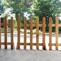 pagar pager pembatas ruangan dekorasi taman kayu jati belanda