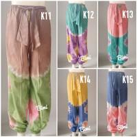 Celana panjang wanita jogger aladin kaos super batik tiedye fit jumbo