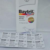 OBAT ANTIBIOTIK ANJING / KUCING BAYTRIL (ENROFLOXACIN) 50 MG (PER TAB)
