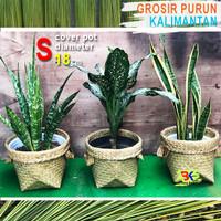 Bakul Cover Pot Purun Natural (Ukuran S) Harga Grosir