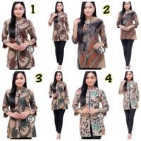 Baju Batik Wanita Blouse Seragam Kerja Atasan Batik - M, 1