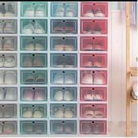 Kotak sepatu mika lipat trasnparan minimalis bisa di susun bak lemari