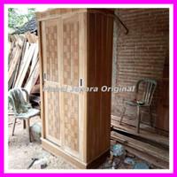 lemari pakaian minimalis sliding 2 pintu kayu jati mentahan