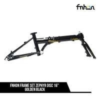 FRAME SET FNHON ZEPHYR 16inch DISCBRAKE PLUS HANDLEPOST BLACK - GOLD