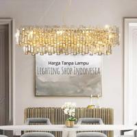 Lampu gantung kristal panjang gold mewah modern meja makan 115cm