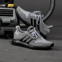 Sepatu Adidas Original Swiftru Grey Black Made in Indonesia - Abu-abu, 39