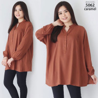 Kemeja Atasan Wanita Jumbo Lengan Panjang V Neck LD 130 Baju Bigsize - 5062 - caramel