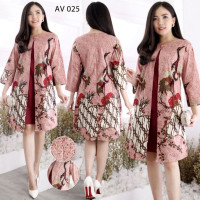 Batik dress modern wanita baju imlek model laris