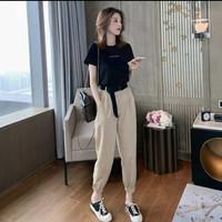Setelan wanita import atasan+celana jogger bahan premium - celana krem