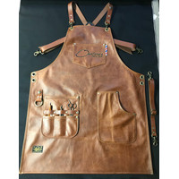 Apron/celemek full premium pu leather X strap for barista/barber - Brown camel