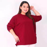 Blouse Wanita jumbo Atasan batwing fashion wanita big size 5XL Vallen - Maroon