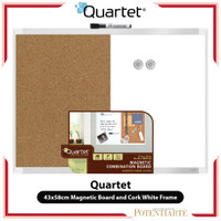 Papan Tulis Tempel Quartet 43x58cm Magnetic Board and Cork White Frame