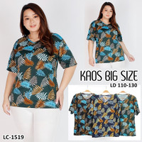 LC 1519BIG Kaos Oblong Wanita T Shirt Motif Daun Melar Stretch Jumbo