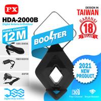 Antena TV Digital Analog Booster Indoor Outdoor + 12Meter PX HDA-2000 - Hitam