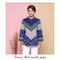 blouse batik tenun wanita warna biru atasan baju batik premium