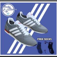 Sepatu Adidas Neo city racer grey list white Original - sepatu pria