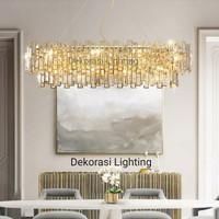 lampu gantung gold kristal panjang hias mewah modern 115cm