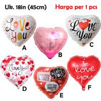 Balon Foil Hearts 18in / Balon Hati I Love You Valentine