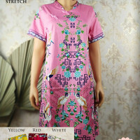 Dress batik cheongsam merah bahan strect