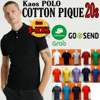 KAOS POLO KATUN PIQUE 20s/Size S -XXL/JUMBO/POLO/ADEM/Pria/Kaos Distro - Putih, S