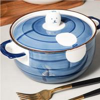 UCHII HACHI Japanese Ceramic Noodle Bowl   Mangkok Ramen Tutup Keramik