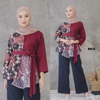 Atasan Batik Wanita Blouse Baju Batik Wanita Kerja Kantor - Maron, M