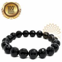 Gelang Batu Alam Black Onyx Cutting 10mm Asli dan Natural