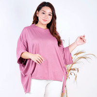 LD 204 ( FREE SIZE FIT TO 4XL ) Baju atasan batwing SANGAT BESAR helen - Pink