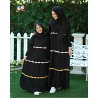 RG 37 Black Couple LS Baju Muslim Gamis Ibu Anak Raggakids