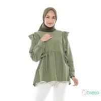 Atasan Wanita Muslim   Adila Blouse Hijau   S M L XL   Tazkia Hijab