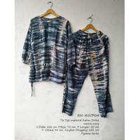 Baju tidur batik setelan celana panjang - navyASCP04
