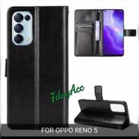 flip case cover oppo reno 5 dompet bahan kulit sintesis reno 5