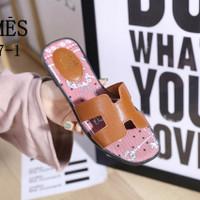 sandal wanita murah branded Hermes semipremium import sandal flat