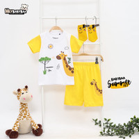 Heybabybaa Summer Set Yellow Giraffe-Setelan Baju Anak Binatang Animal