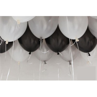 Balon Metalik 12 Mix 30 pcs (hitam, silver, putih)