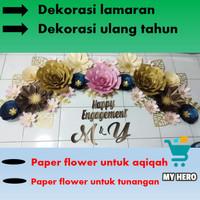 paper flower hiasan dinding backdrop pesta pernikahan ulang tahun