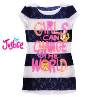 Atasan dua lapis anak perempuan Justice girls can change the world - 6