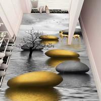 NEW Karpet Lantai 3Dimensi Shiny Wool Gold Emas Batu