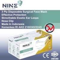Nine Masker Surgical Face Mask 3 Ply model Tali Lebar isi 50pcs