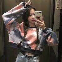Baju Kaos Lengan Panjang Crop Top Wanita Tie Dye QQ