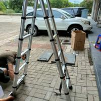 tangga lipat aluminium teleskopik 3,8M Double teleskopik 3,8