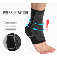 1 Pcs Ankle Compression FOOT Sleeve Arch Heel Pain Relief Support kaki - M