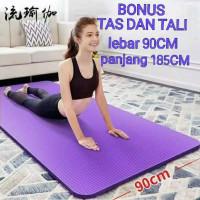 Matras Yoga JUMBO LEBAR 90CM & / LEBAR 60CM GRATIS TAS Olahraga Senam - Hitam, 90CM