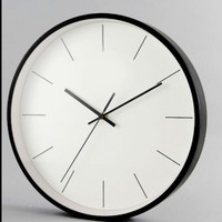 Jam dinding bulat minimalis hitam putih silent movement diameter 30cm