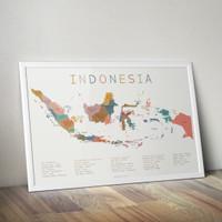 Peta Indonesia - Poster Edukasi Anak - Indonesia Maps - Kids Wall Art