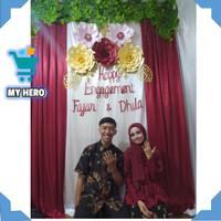 backdrop dekorasi paper flower pesta ulang tahun pernikahan lamaran